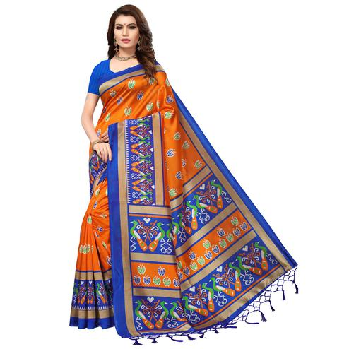Flawless Orange-Blue Colored Festive Wear Printed Mysore Art Silk Saree