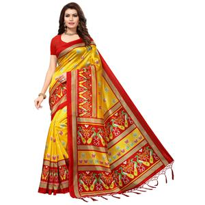 Gleaming Yellow-Red Colored Festive Wear Printed Mysore Art Silk Saree