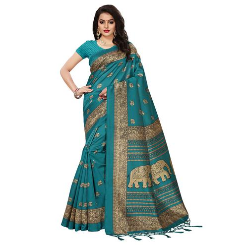Majestic Teal Green Colored Festive Wear Printed Mysore Art Silk Saree