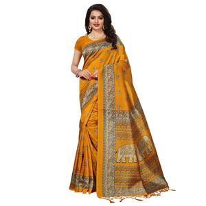Magnetic Yellow Colored Festive Wear Printed Mysore Art Silk Saree