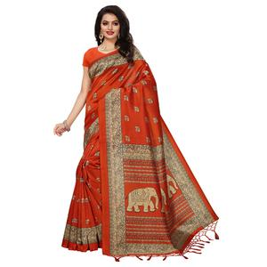 Glorious Orange Colored Festive Wear Printed Mysore Art Silk Saree