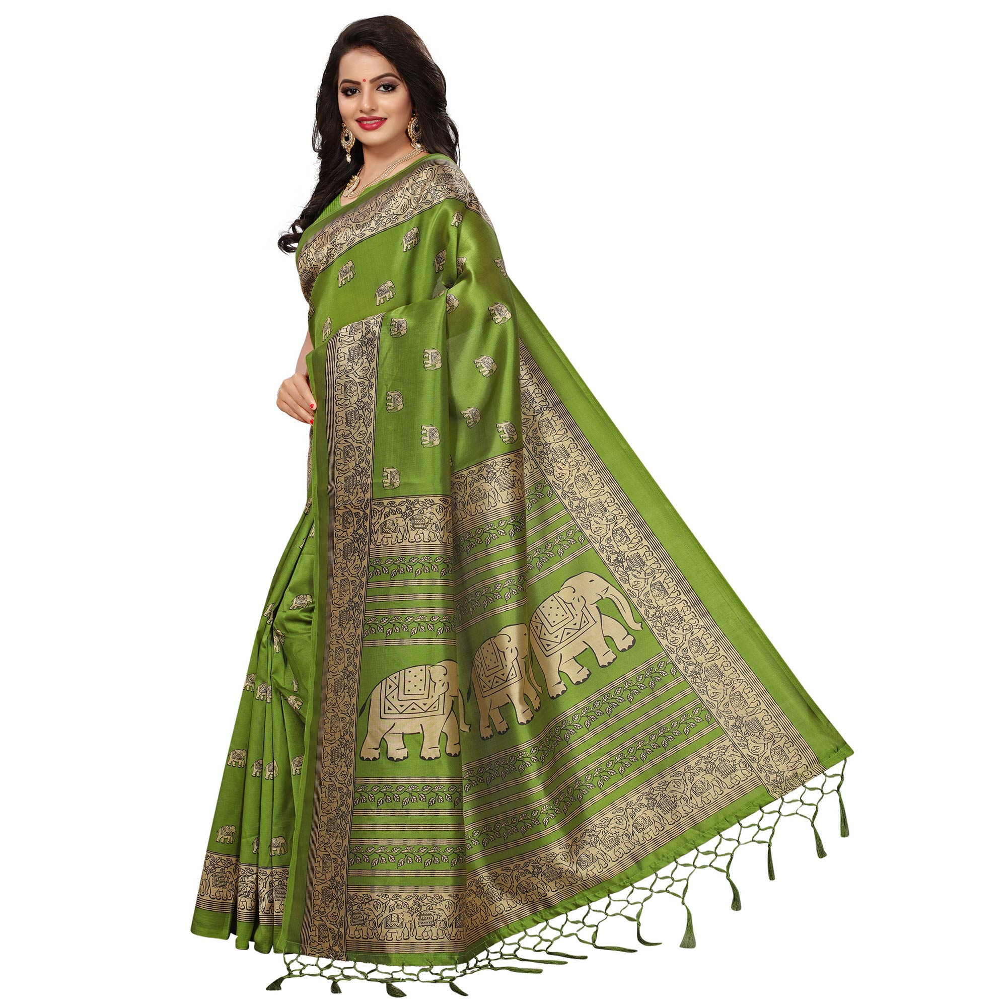 Lovely Green Colored Festive Wear Printed Mysore Art Silk Saree