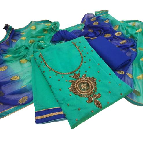 Attractive Turquoise Green Colored Embroidered Modal Dress Material