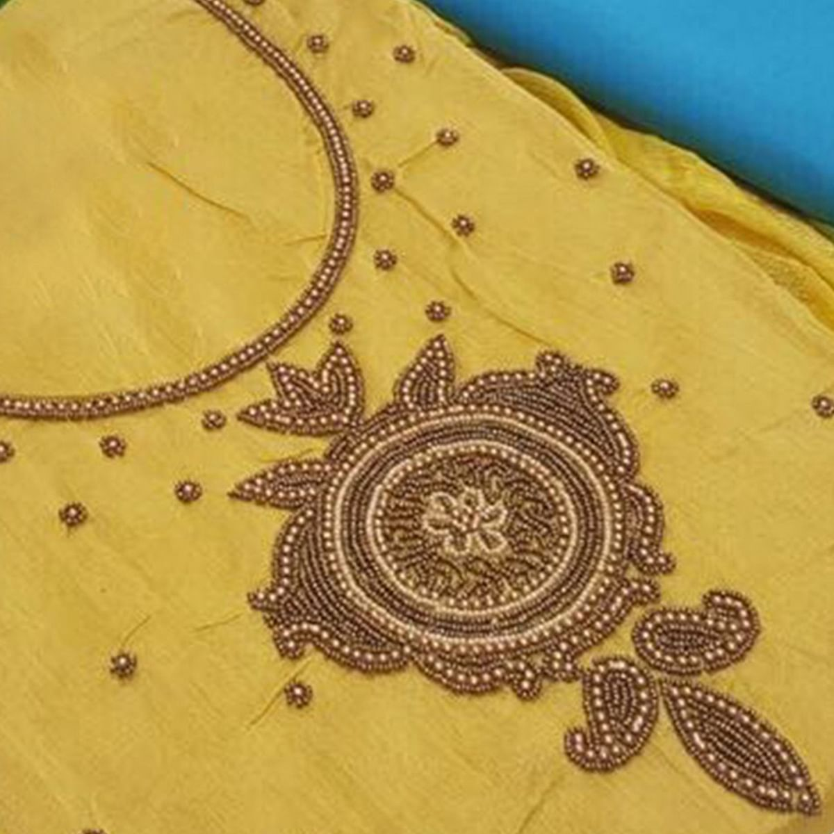 Glowing Yellow Colored Embroidered Modal Dress Material