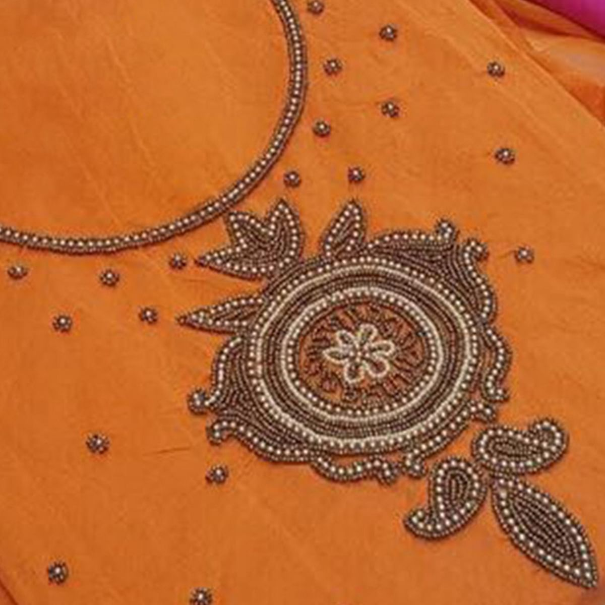 Trendy Orange Colored Embroidered Modal Dress Material