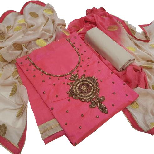 Classy Pink Colored Embroidered Modal Dress Material