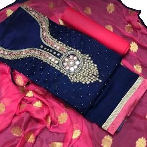 Demanding Navy Blue Colored Embroidered Modal Dress Material