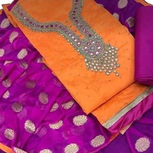 Traditional Orange Colored Embroidered Modal Dress Material