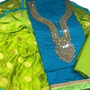 Majestic Sky Blue Colored Embroidered Modal Dress Material
