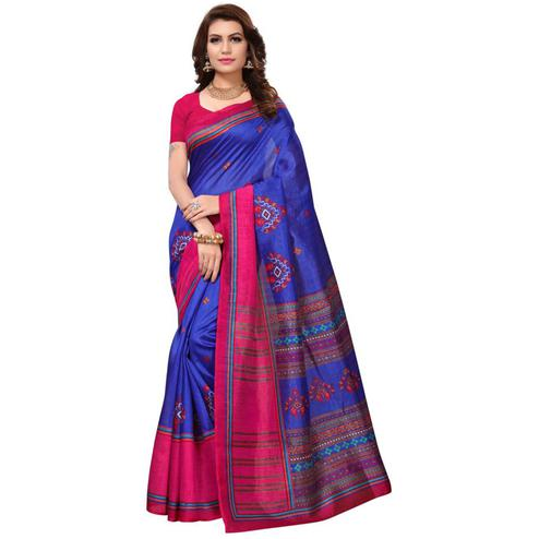 Eye-Catching Blue-Pink Colored Festive Wear Printed Bhagalpuri Silk