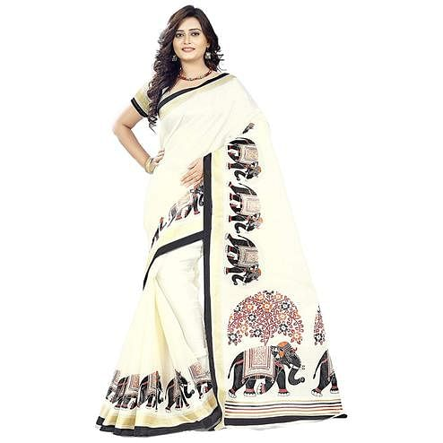 Desiring Cream Colored Festive Wear Printed Khadi Silk Saree