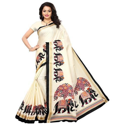 Desiring Cream Colored Festive Wear Printed Art Silk Saree