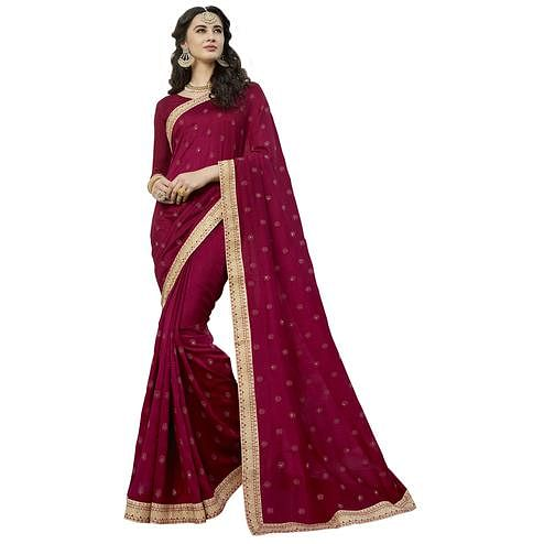 Magical Magenta Colored Party Wear Embroidered Art Silk Saree