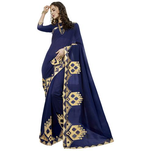 Adorable Navy-Blue Colored Party Wear Embroidered Art Silk Saree