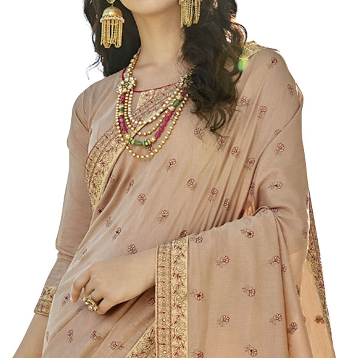 Lovely Beige Colored Party Wear Embroidered Art Silk Saree