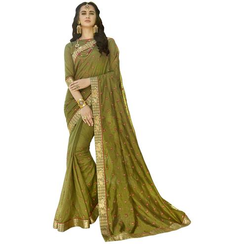 Attractive Olive Green Colored Party Wear Embroidered Art Silk Saree