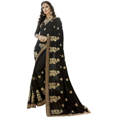 Bold Black Colored Party Wear Embroidered Art Silk Saree
