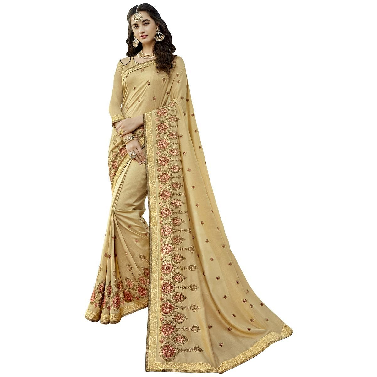 Gorgeous Cream Colored Party Wear Embroidered Art Silk Saree