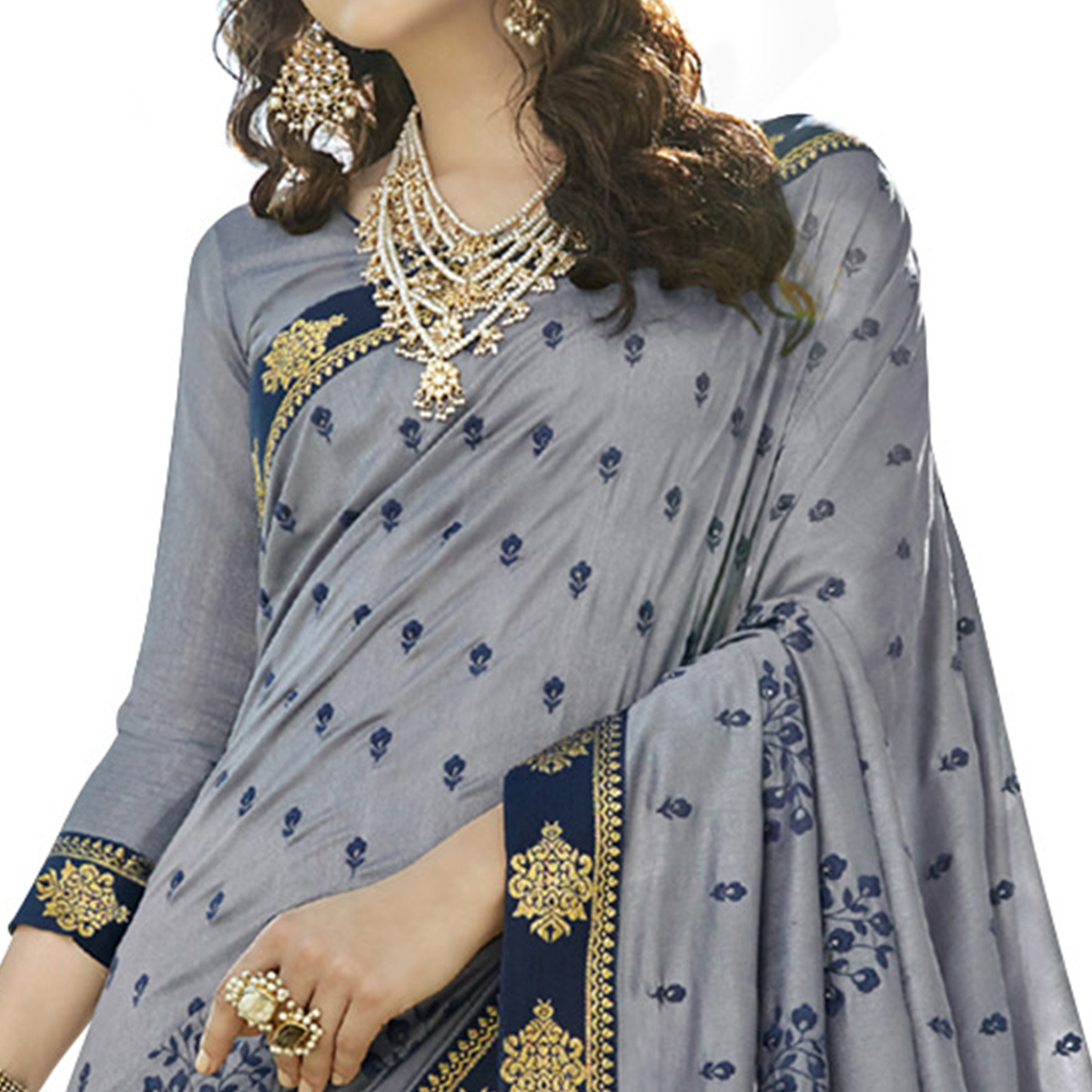 Pretty Grey Colored Party Wear Embroidered Art Silk Saree
