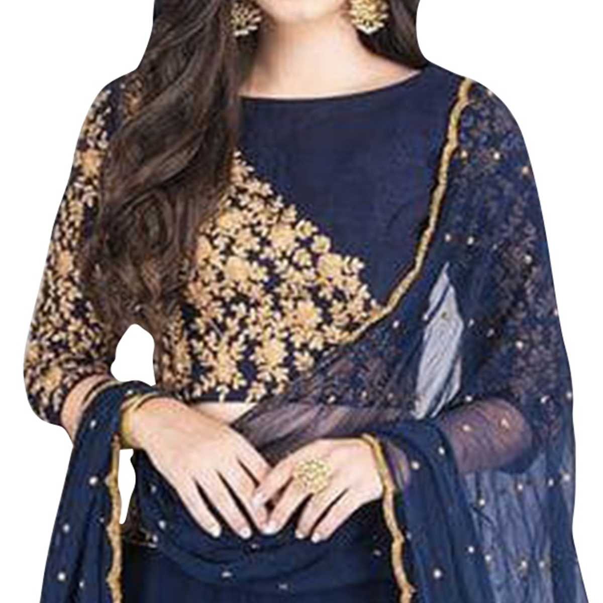 Eye-Catching Navy Blue Colored Partywear Embroidered Net Lehenga Choli