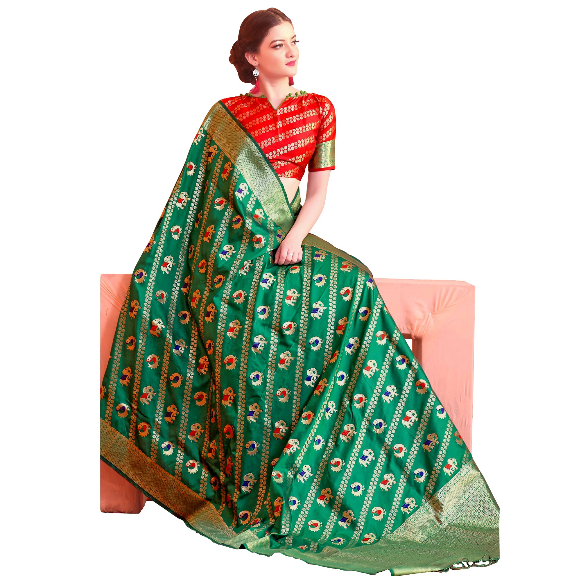 Refreshing Green Colored Festive Wear Woven Patola Silk Saree