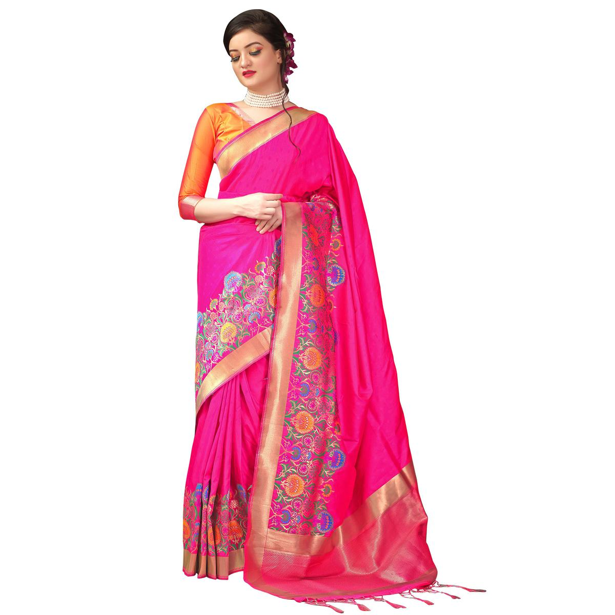 Charming Pink Colored Festive Wear Woven Mysore Art Silk Saree