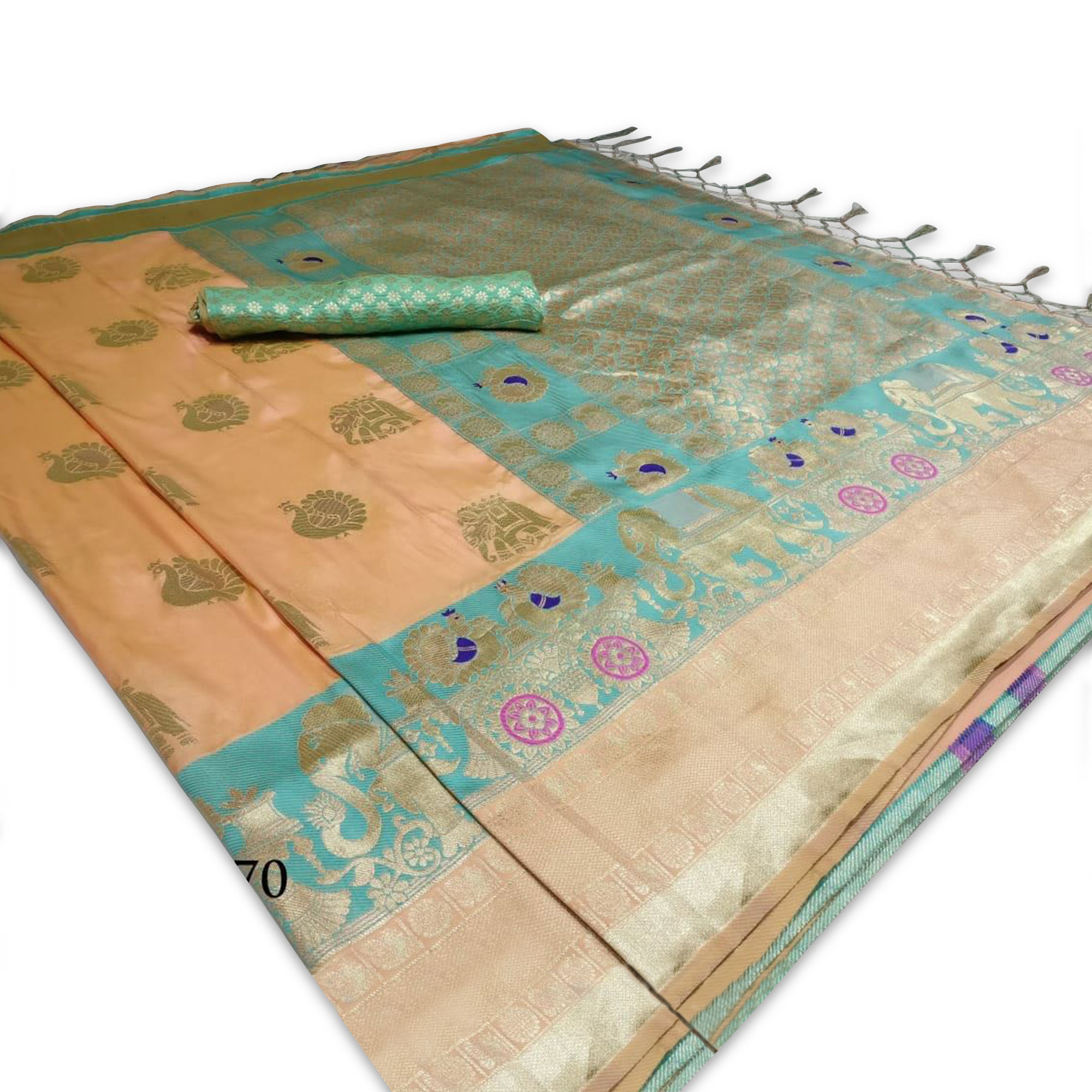 Beautiful Peach Colored Festive Wear Woven Gadwal Silk Saree