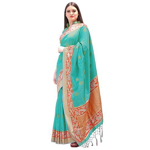 Pleasant Sky Blue Colored Festive Wear Woven Chanderi Silk Saree