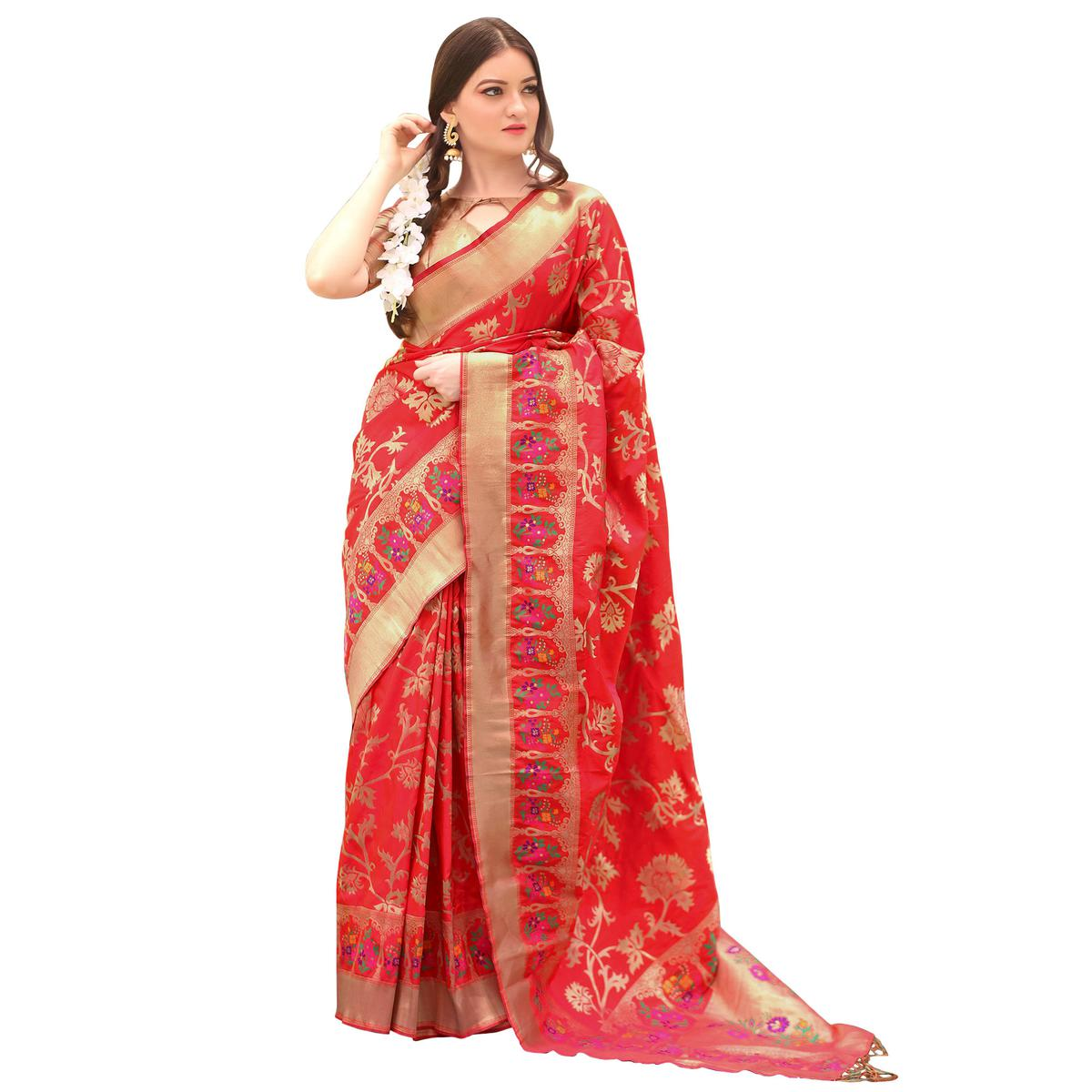 Demanding Red Colored Festive Wear Woven Paithani Silk Saree