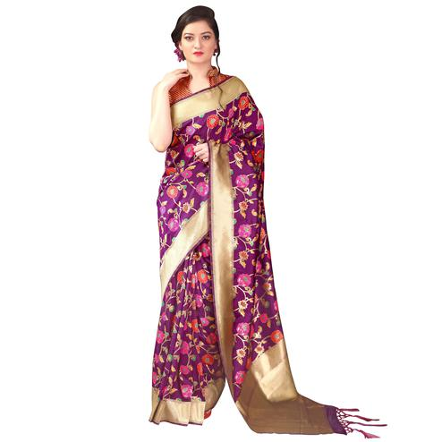 Pretty Purple Colored Festive Wear Woven Kanjivaram Silk Saree