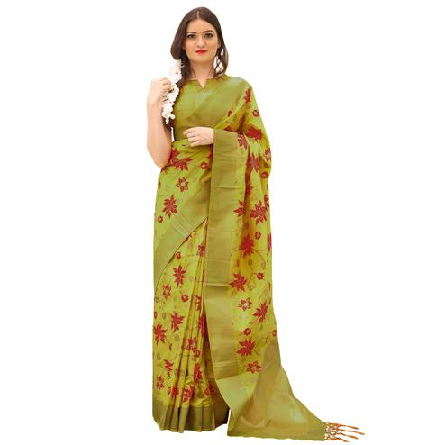 Impressive Green Colored Festive Wear Woven Kora Silk Saree