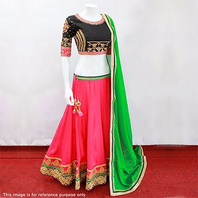 Hot Pink - Black Wedding Wear Embroidered Lehenga