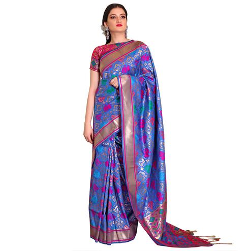 Desiring Blue Colored Festive Wear Woven Patola Silk Saree