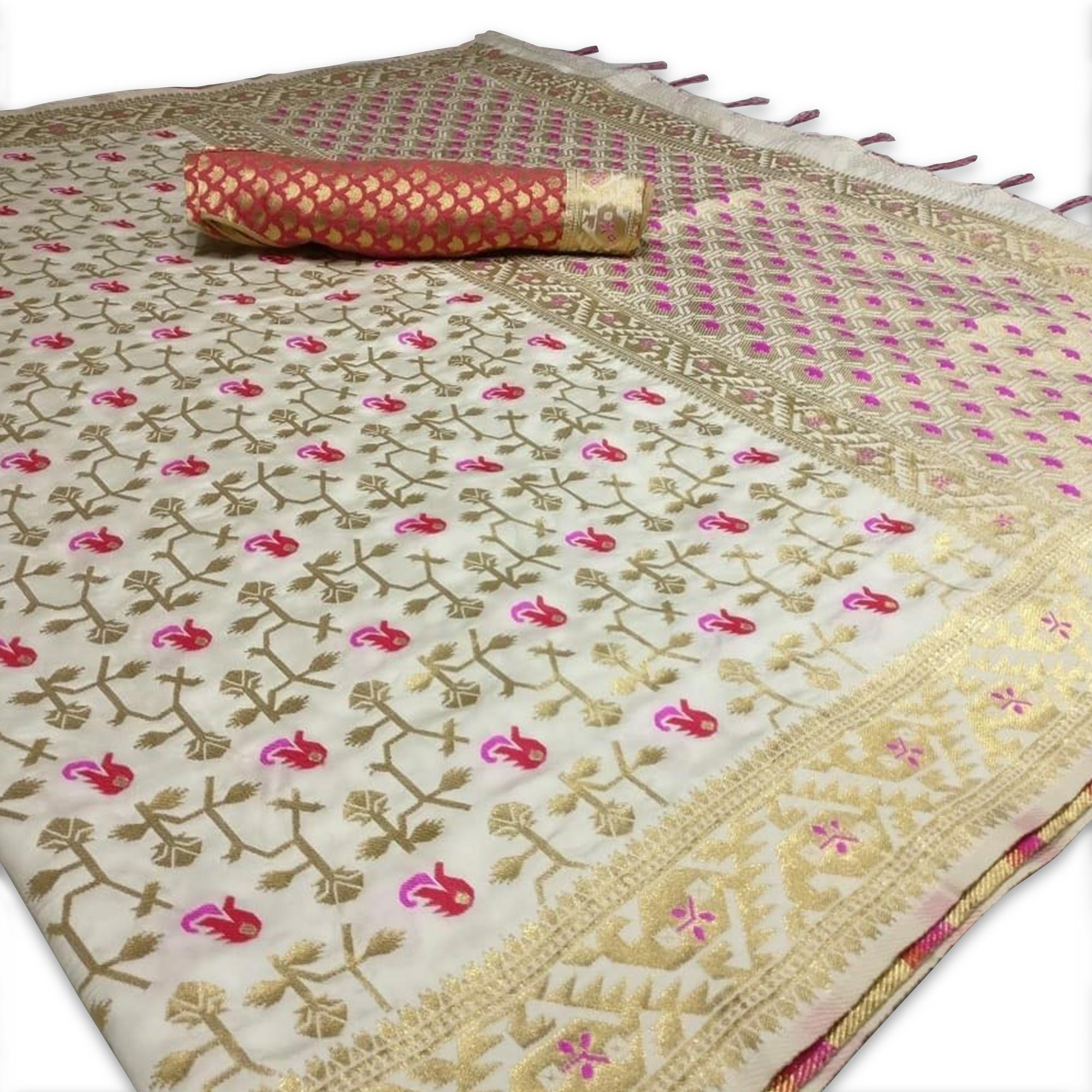 Blooming Off-White Colored Festive Wear Woven Silk Saree
