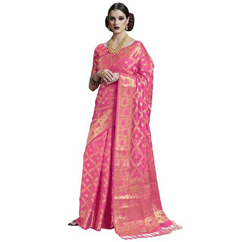 Impressive Pink Colored Festive Wear Woven Silk Saree
