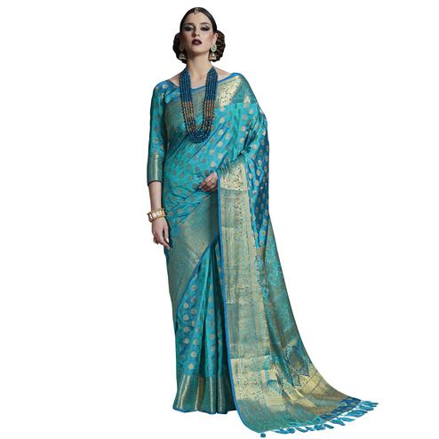 Beautiful Sky Blue Colored Festive Wear Woven Silk Saree