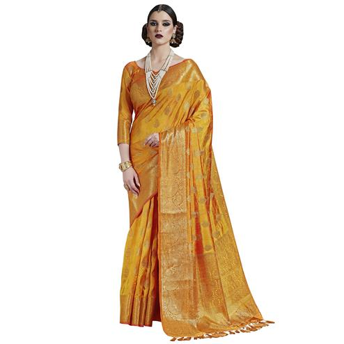Glowing Yellow Colored Festive Wear Woven Silk Saree