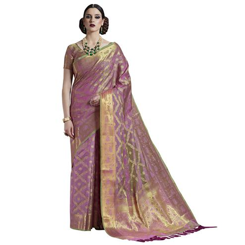 Adorning Light Purple Colored Festive Wear Woven Silk Saree