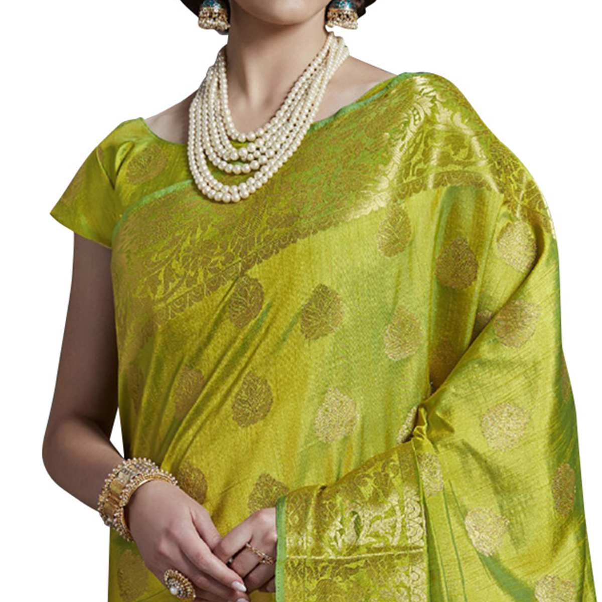 Unique Green Colored Festive Wear Woven Silk Saree