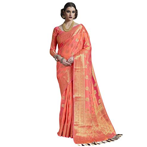 Demanding Peach Colored Festive Wear Woven Silk Saree