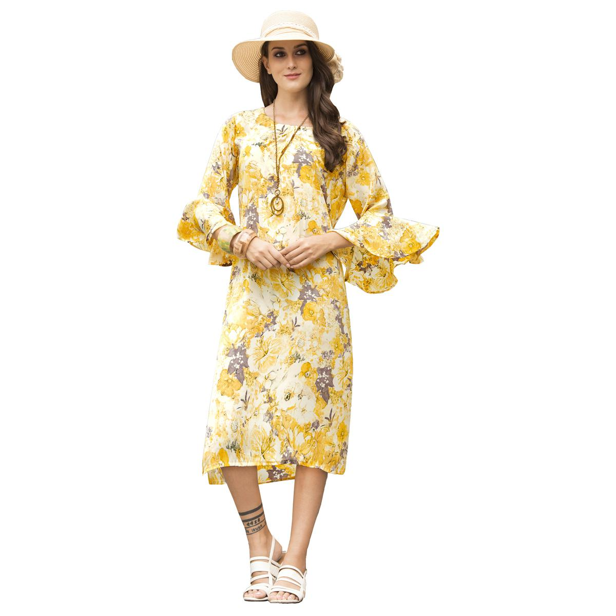 Stylish Yellow Colored Casual Printed Satin Cotton Kurti