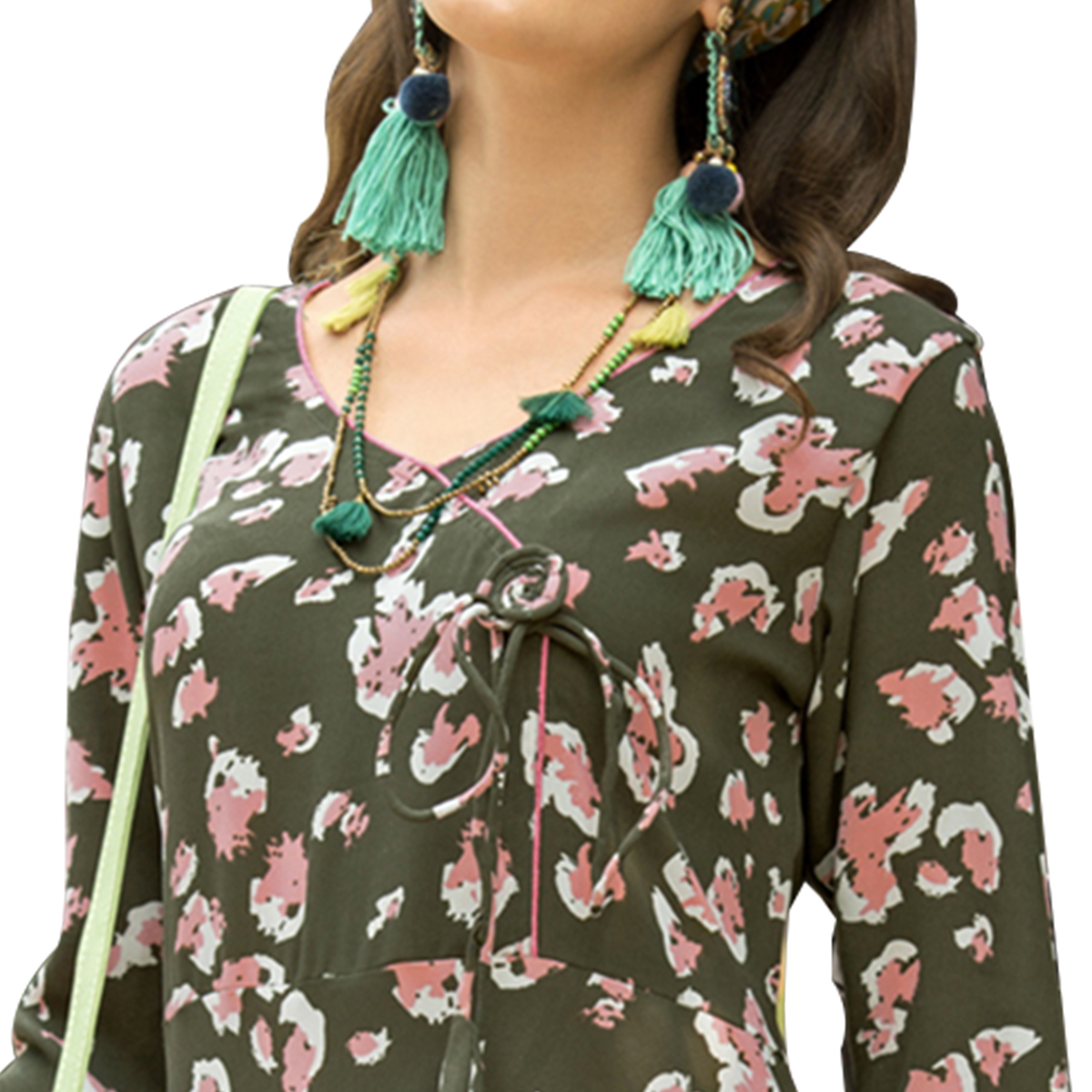 Classy Olive Green Colored Casual Printed Satin Cotton Long Kurti