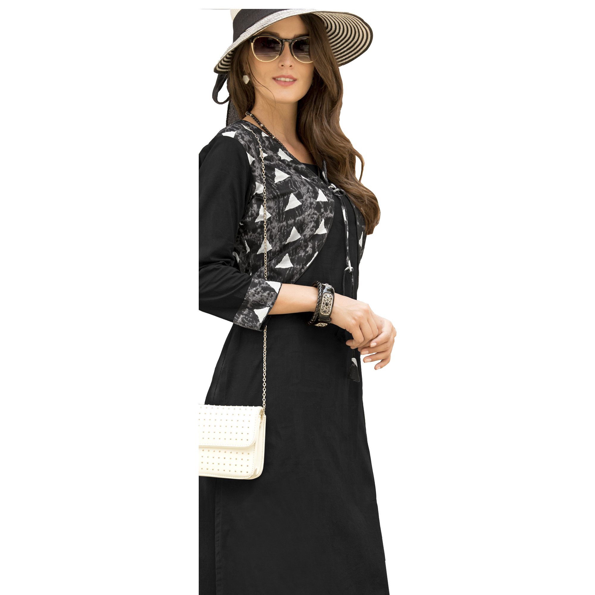 Bold Black Colored Casual Printed Satin Cotton Long Kurti