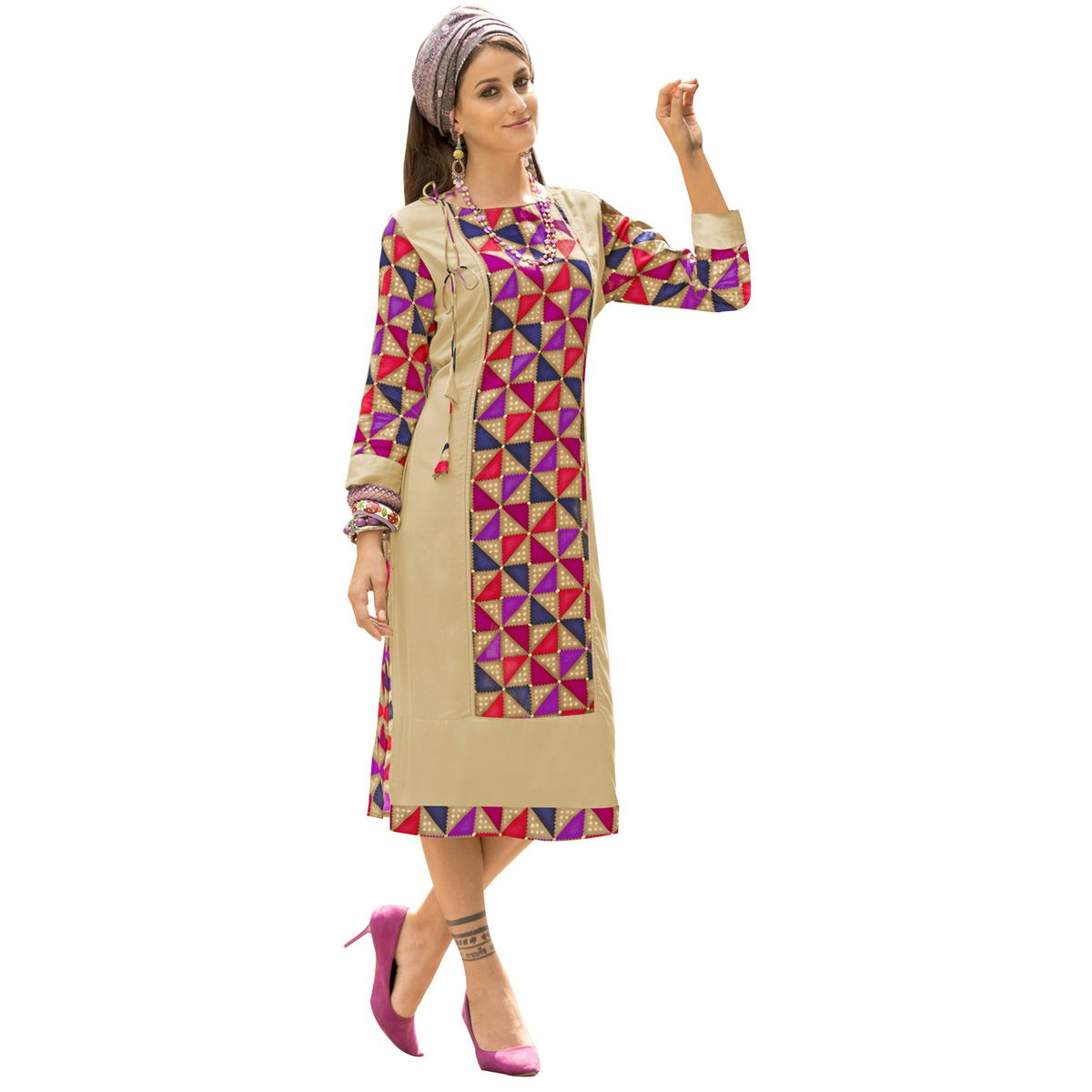 Lovely Beige Colored Casual Printed Satin Cotton Long Kurti