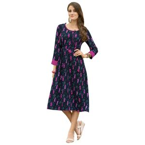 Blooming Navy Blue Colored Casual Printed Satin Cotton Kurti