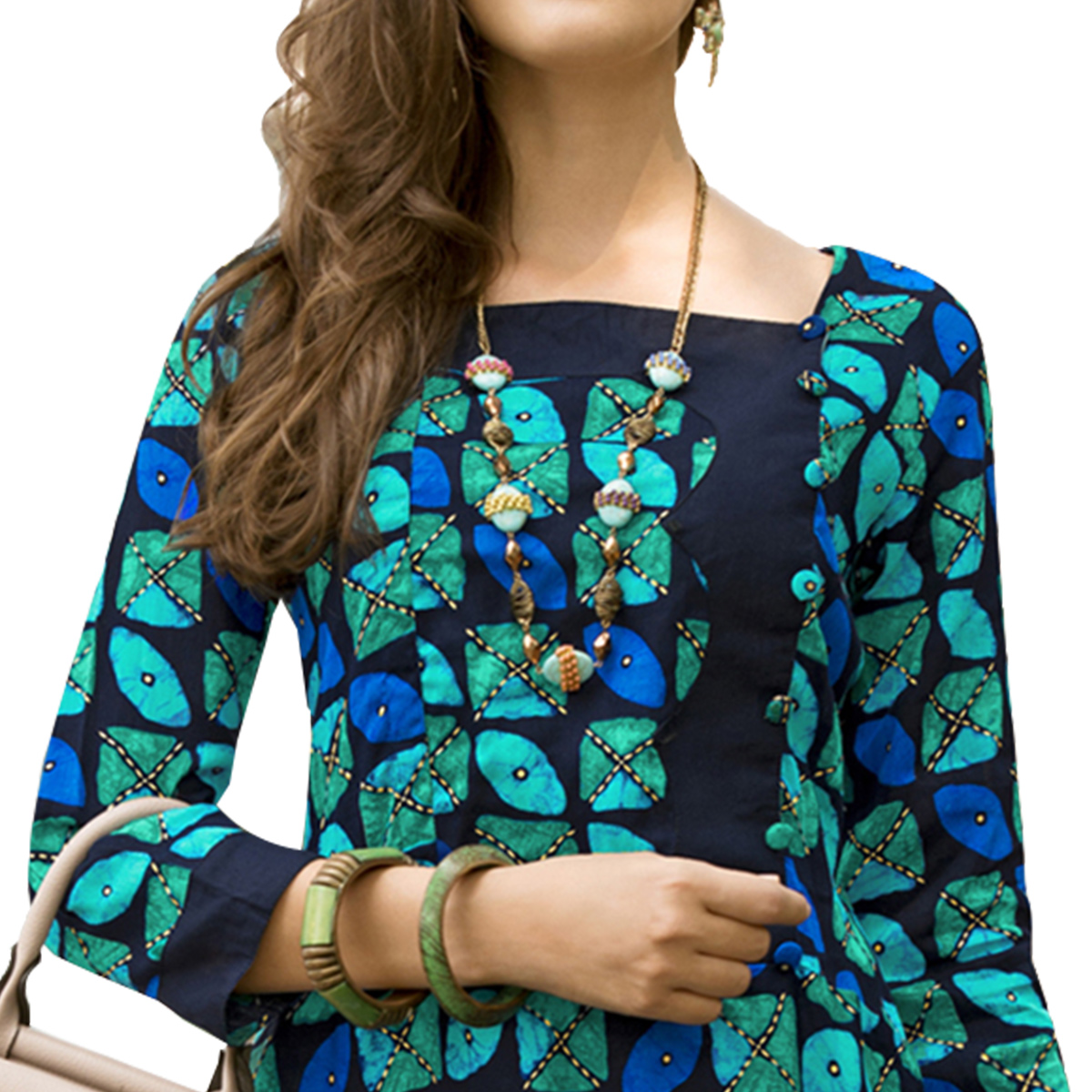 Groovy Navy Blue-Green Colored Casual Printed Satin Cotton Long Kurti