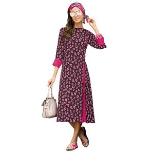 Majestic Brown-Pink Colored Casual Printed Satin Cotton Long Kurti