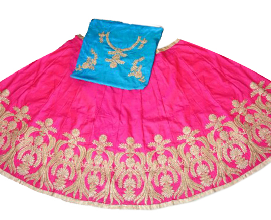 Deep Pink - Blue Silk Embroidered Lehenga