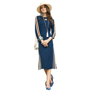 Beautiful Navy Blue Colored Casual Printed Satin Cotton Kurti