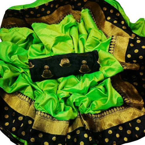 Gorgeous Green Colored Festive Wear Paper Silk Saree